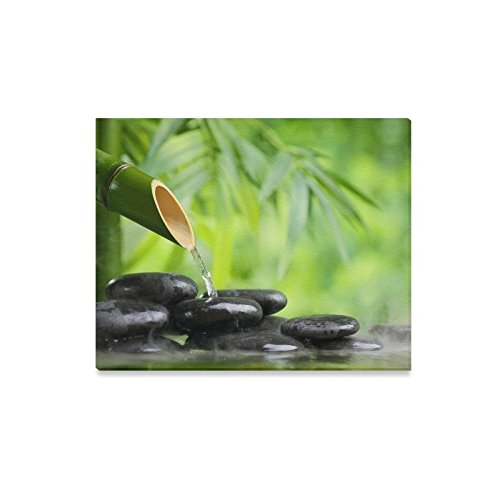 Stones Bamboo Green Water Black Nature Canvas Print Wall Art - Home Decor Corridor Bedroom and Living Room Decorations Modern Canvas Wall Art - Ready to Hang - Size 20''x16'' by WECE