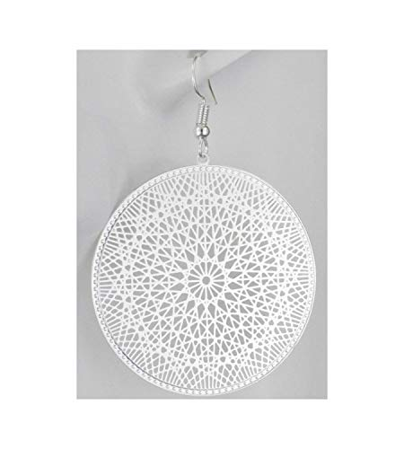 Silver Earrings Round Circle Medallion Coin Dangle Cut Out Filigree 2 3/8