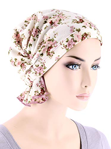 Ivory Rose Floral - Abbey Cap Womens Chemo Hat Beanie Scarf Turban Headwear Cancer Blended Knit Ivory Rose Floral