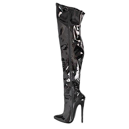 ALUK- Damenschuhe - Sexy Super High Heels 16cm Stiletto Kniehohe Stiefel Hohe Stiefel ( Farbe : Schwarz , größe : 38-Shoes long240mm ) Schwarz