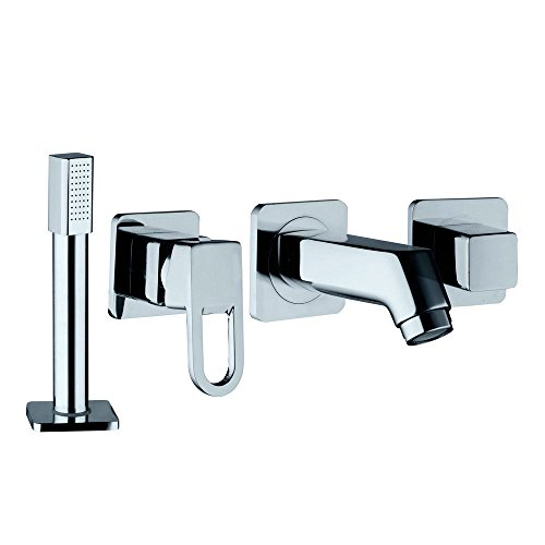 Widespread 4 Pcs Bathroom Sink Faucet Sets With Polished Chrome Spout & (Lever Spread Set)