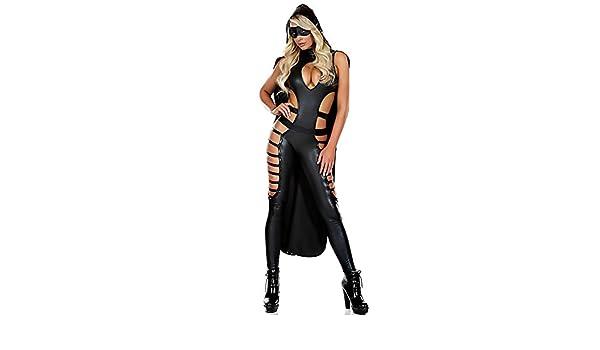 HHTY QREP Lencería Sexy Mujer Catsuit Ninja PU Mono Ropa ...