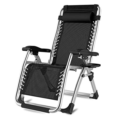 Folding Recliners Folding Recliner Lounge Reclining Lazy Casual Chair Portable Cup Holder Indoor Outdoor Bearing Weight 200 Kg Black ()
