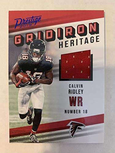 2019 Prestige NFL Gridiron Heritage Xtra Points Blue Jersey MEM #14 Calvin Ridley Atlanta Falcons Official Panini Football Insert Trading Card from 2017 Prestige Football