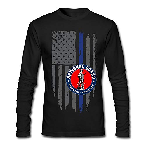 National Guard Veterans - Air National Guard Full Color Veteran Thin Blue Line Men's Long Sleeve T-Shirt Retro Cotton Long Sleeve T-Shirt