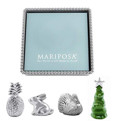 Mariposa Beaded Napkin Box and Set of 4 Napkin Weights - Turkey, Rabbit, Pineapple, and Christmas Tree ()