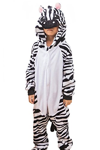 [ABING Halloween Pajamas Homewear OnePiece Onesie Cosplay Costumes Kigurumi Animal Outfit Loungewear,Zebra Chidren Size 95 -for] (Little Zebra Girls Costumes)