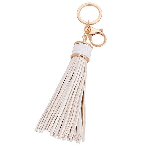 (Leather Tassle Keychain Charm Pendant Handbag Bag Keychain Key Ring (White))