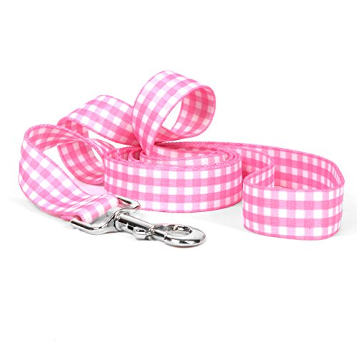 "Yellow Dog Design Gingham Pink Dog Leash 1"" Wide and 5"