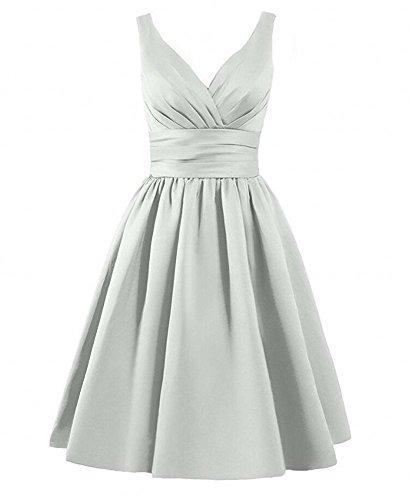 Gown Dresses Short Neck Prom Women's Bridesmaid Silver Sleeveless V Botong Green Satin qvXwF