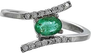 I Diamond You Women's 18K White Gold Emerald Diamond Ring - Size 6.75 US