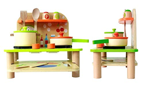 -Turn The Knobs to Make Clicking Sound Premium Wooden Kitchen Toy Playset Happy Little Chef Pretend Play Kitchen Cooking Play Set Includes Kitchen Utensils Chopping Board and Condiments Set Pans
