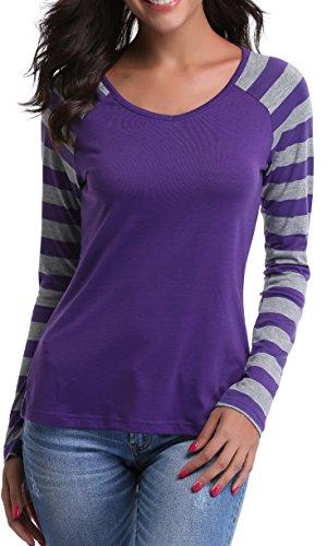 ng Raglan Sleeves V Neck Striped T-Shirt Tops (Purple,XS) (Inside Out Striped Shirt)