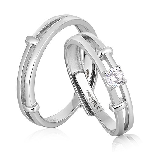 AnaZoz Endless Love S925 Silver Rings Adjustable Ring Cubic Zirconia Wedding Ring Promise Ring Couples Ring by AnaZoz