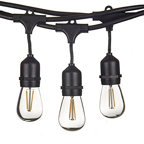 49 FT LED Outdoor String Lights by Bright Path LED - UL Listed - 15 Hanging Sockets - Perfect Patio Lights - 2 Watt Dimmable LED Bulbs