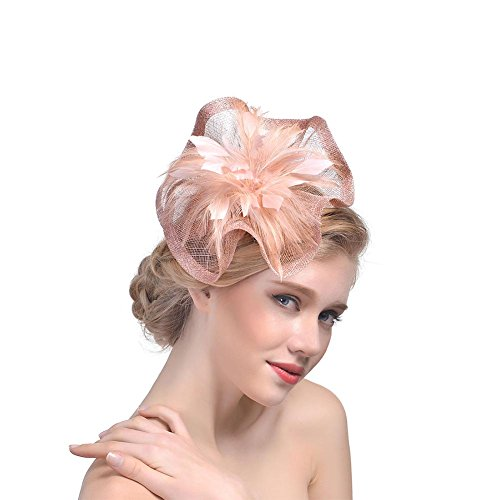 BAOBAO Sinamay Flower Derby Hat Fascinator Feather Net Hair Clip Bridal Cocktail Party