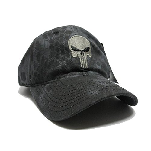 Military imagine Kryptek Punisher Skull camo Hat Gray w/US Flag Patch Cap Tactical