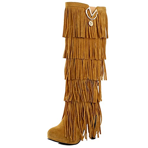 ENMAYER Womens Closed Round Toe Suede Thin Heel Boots With Metal Fittings And Tassel Yellow fs4bwDJaM