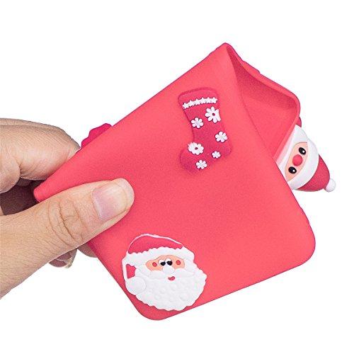 Natalizie Cover Huawei P8 Lite 2017 3D Navidad Serie Custodia, TOTOOSE Natale Decorazioni Ultra Slim Fit prueba de golpes TPU Teléfono de Nuevo caso protezione di Cubierta para Huawei P8 Lite 2017-San Santa Red
