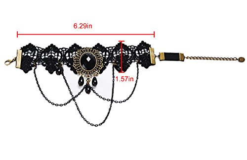 Aniwon Punk Wedding Party Black Lace Choker Beads Chain Pendant Necklace Earring Bracelet for Women 4