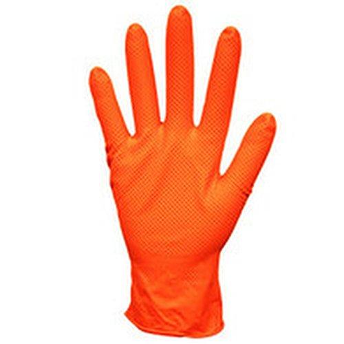 Nitri-Cor Z-Tread Hi-Vis Orange Powder-Free Nitrile Embossed Gloves, Medium (1 CASE)