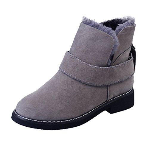 Gris Invierno Antideslizante Zapatos Casual Botines Cordones Sin Forrado Botas Dooxi Mujer Calentar Moda Nieve 6AOTAwq
