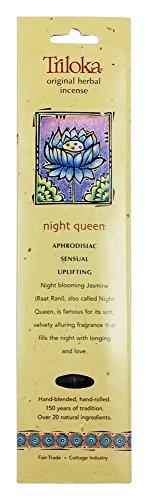 Queen Night Incense - Triloka Night Queen Original Stick Incense Pack of 10 Sticks