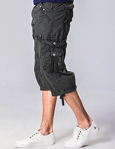 Amoystyle Men's Relaxed Fit Long Cargo Shorts Capri Pants Dark Gray Tag 32 by Amoystyle (Image #1)