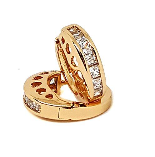 18kt Brazilian Gold Layered Princess Cut CZ Huggie Hoop Earrings. 5mm wide x 15mm diameter. Brazilian Jewelry