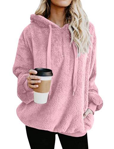 - Nlife Women Winter Long Sleeve Sweatshirt Pullover Zip Front Fuzzy Warm Fleece Hoodies Outwear