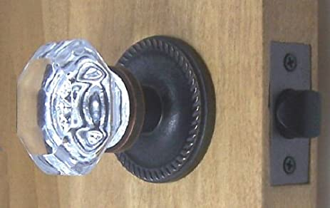 Nice High End 24% Lead Crystal Old Town Passage Door Knob Set With Oil Rubbed
