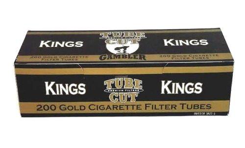 (Gambler Tube Cut King Gold Cigarette Filter Tubes light flavor box 200 New USA)