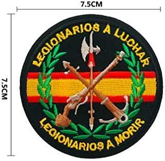 BANDERA DEL PARCHE BORDADO PARA PLANCHAR O COSER (Emblema Militar Legionario 7.5cm)