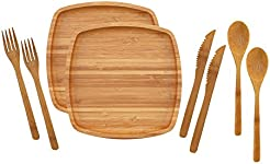 BambooMN C&ing Mess Kit Lightweight Organic 8\  x 8\  Bamboo Plates Forks  sc 1 st  Amazon.com & Amazon.com: Square - Dinner Plates / Plates: Home \u0026 Kitchen
