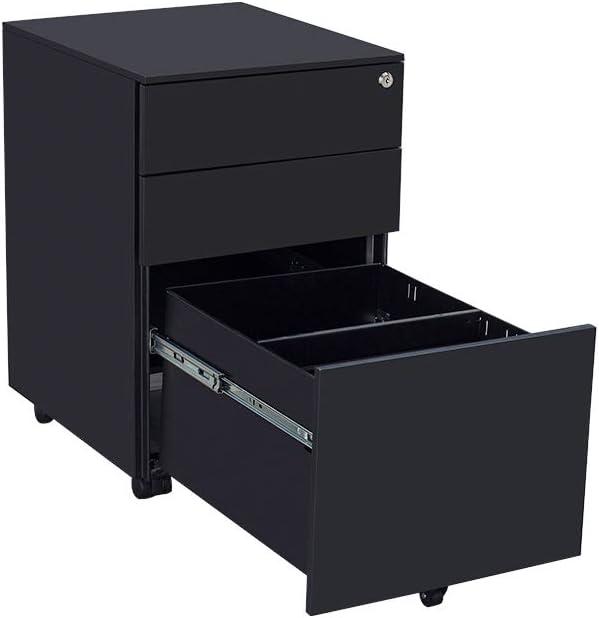 Keinode Filing Storage Cabinet 3 Pedestal Drawers Filing A4 Storage Lockable Unit Casters Office Mobile File Cabinet for Home Office