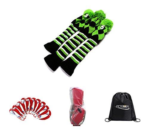 合成許さないネクタイposma cc090e木製クラブヘッドカバー1,3,5バンドルセットwithプラスチックアイアンクラブヘッドカバーのセット – 10 + 1pc Clubsバッグ雨カバー+ 1pcブラックCinch Sack Carryバッグ