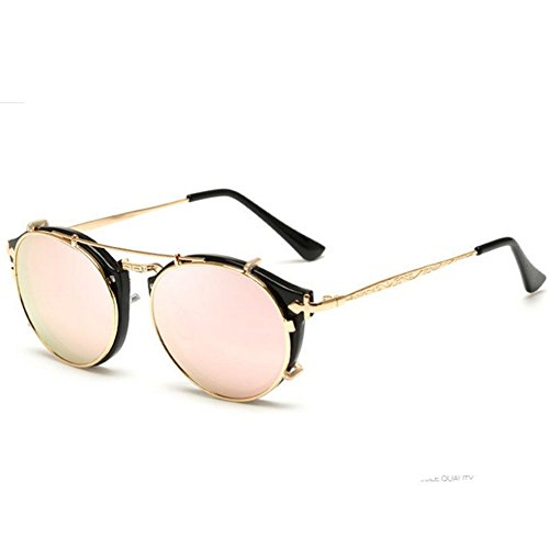 [LuxuryEye Plastic With Alloy Girl Popular Fashion Accessory Summer Equipment Sunglasses(Pink)] (Prescription Colored Contact Lenses)