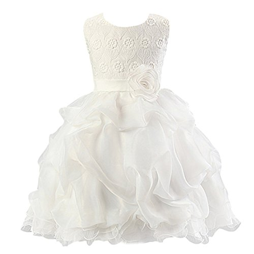 Baby Girl Dress Kids Ruffles Lace Birthday Party Wedding Tulle Dresses Princess Bridesmaids Pageant Gown White