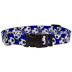 """Yellow Dog Design Soccer Balls Dog Collar with Tag-A-Long ID Tag System-Medium-1"""" and fits Neck 14 to 20"""""""