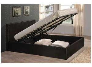 Black 4ft6 Double Storage Ottoman Gas Lift Up Bed Frame TIGERBEDS BRANDED PRODUCT All Other Sizes