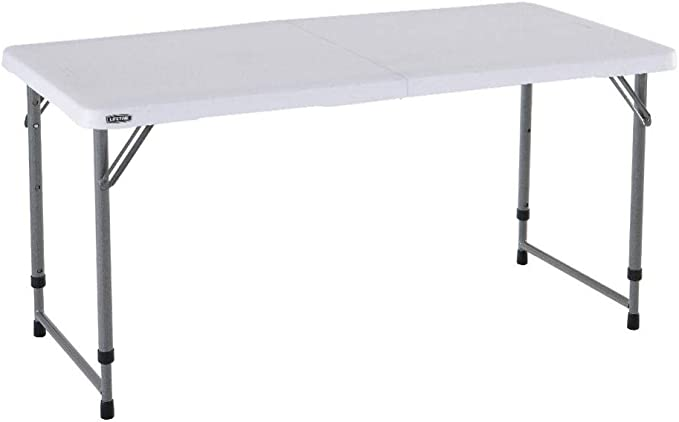 Lifetime Mesa plegable para camping y utilidad con altura ajustable, 4 pies, 48 x 24, granito blanco