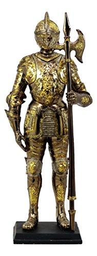 Standing Knight Figurine - Ebros Medieval Lion Halberdier Knight Of Heraldry Figurine 8.75