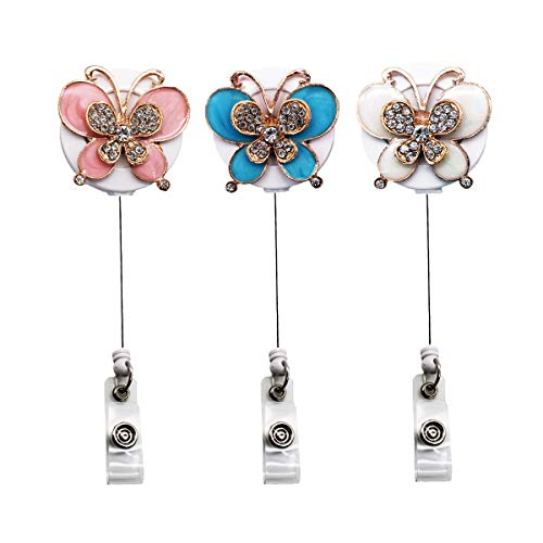 YOUKOOD Diamond-Studded Zinc Alloy Butterfly Retractable Badge Holder for Women Girls, ID Badge Reel with 360°Alligator Swivel Clip 3 Pack - Studded Alligator
