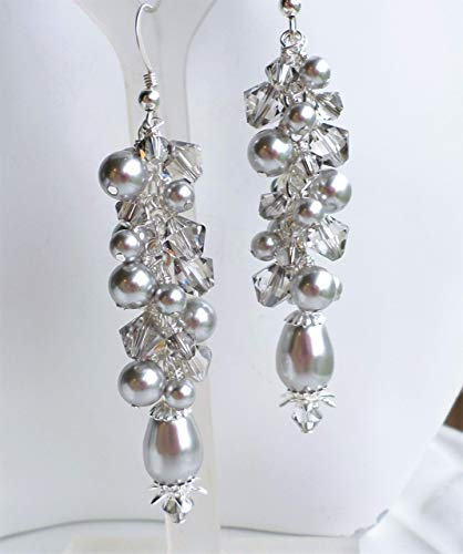 Light Gray Swarovski Pearl and Crystal Long Cluster Statement Earrings