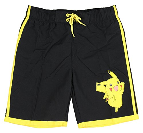 InGear Boys Pokemon Elastic Waistband Swim Trunks-Pikachu and Charizard (12/14, Pikachu (Black)) (Pokemon Shorts)