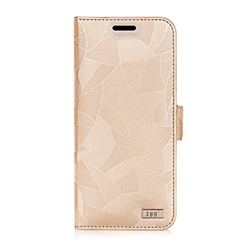 FYY [Premium Leather] Wallet Case for Samsung Galaxy S8+ Plus 2017, Handmade Flip Folio Wallet Case with Kickstand Card Slots Magnetic Closure for Samsung Galaxy S8+ Plus 2017 MapleGold
