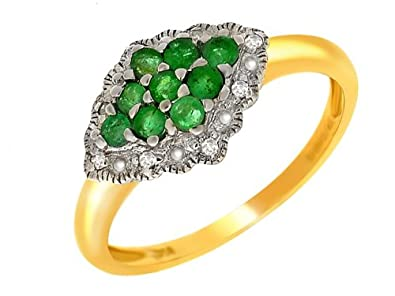 Ivy Gems 9ct Yellow gold Emerald and Diamond Fancy Cluster Ring Size P iUjHDp