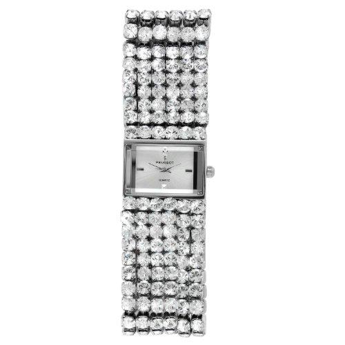 Peugeot Women Jewelry Evening Watch – Handset with 6 Strands of Genuine Swarovski Crystals