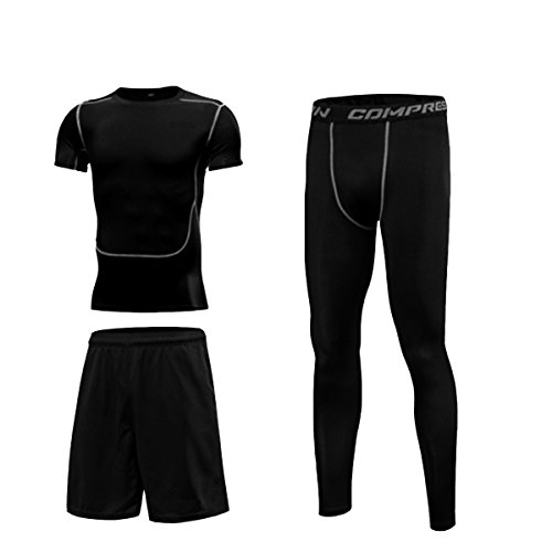 SMART.B Men's Sportswear, 3-Piece (Shirt, Leggings, Shorts) Fitness, Exercise, Comfortable and Breathable.(2XL, Short)