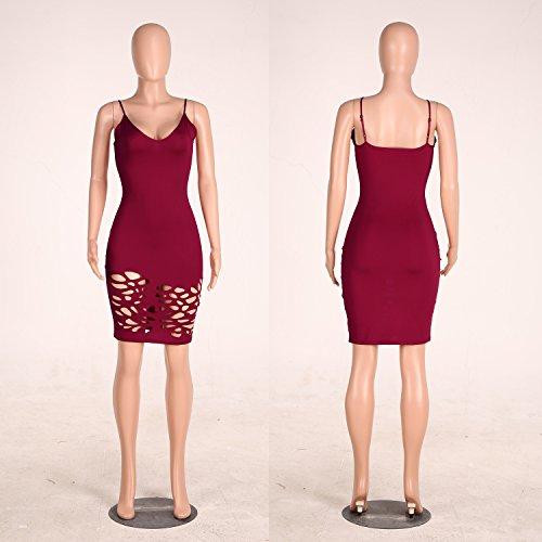 party Clubwear Bodycon Neck Wine Women Mini Dress Out Spaghetti V Strap Cami Hollow fnHqa0w